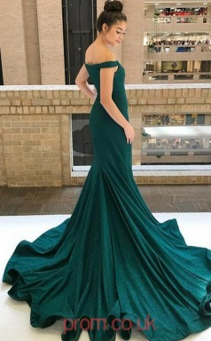 Dark Green Sequined Trumpet/Mermaid Off The Shoulder Short Sleeve Sweep Train Prom Dress(JT3847)