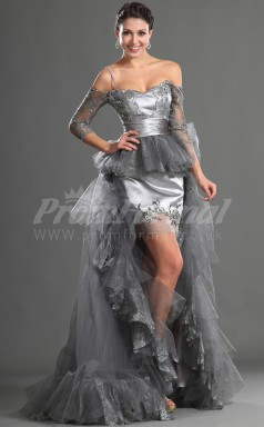 Silver Tulle,Stretch Satin Sheath Off The Shoulder 3/4 Length Sleeve Hi-Lo Cocktail Dresses(PRJT04-0385)