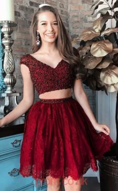 Burgundy Lace A-line V-neck Short Sleeve Mini Two Piece Cocktail Dress(JT3851)