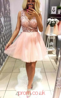 Blushing Pink Tulle Lace A-line V-neck Mini Cocktail Dress(JT3852)