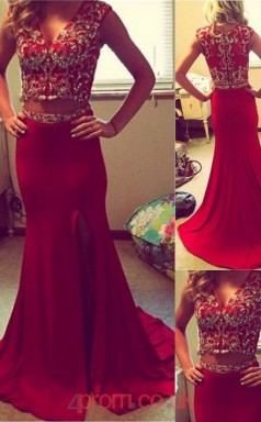 Light Burgundy Satin Chiffon Trumpet/Mermaid V-neck Short Sleeve Sweep Train Two Piece Prom Dresses(JT3872)