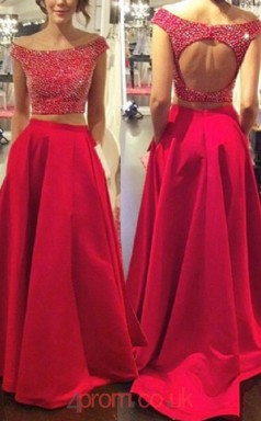 Red Satin A-line Off The Shoulder Short Sleeve Sweep Train Two Piece Prom Dresses(JT3873)