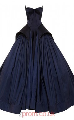 Navy Blue Taffeta Ball Gown Sweetheart Floor-length Graduation Dresses(JT3875)