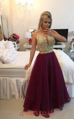 Grape Tulle A-line Illusion Floor-length Evening Dresses(JT3895)