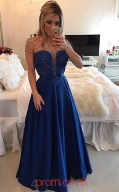 Royal Blue Stretch Satin A-line Illusion Short Sleeve Floor-length Evening Dresses(JT3896)