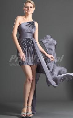 Gray Chiffon Sheath One Shoulder Short/Mini Cocktail Dresses(PRJT04-0390)