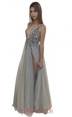 Gray Tulle A-line V-neck Floor-length Sex Prom Dresses(JT3903)