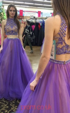 Purple Tulle A-line Halter Floor-length Two Piece Prom Dresses(JT3913)