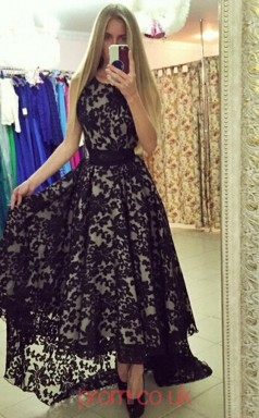 Black Lace A-line Scoop Asymmetrical Prom Dresses(JT3920)