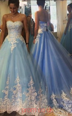 Sky Blue Tulle Ball Gown Sweetheart Long Quincenera Dresses(JT3930)