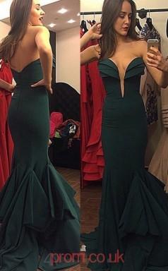 Dark Green Satin Trumpet/Mermaid Sweetheart Long Prom Dresses(JT3940)