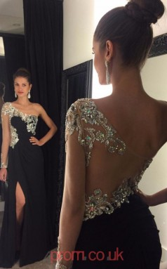 Black Chiffon Trumpet/Mermaid One Shoulder Long Sleeve Long Sex Prom Dresses(JT3950)