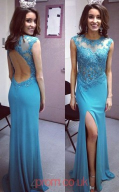 Pool Satin Chiffon Trumpet/Mermaid Bateau Short Sleeve Floor-length Sex Prom Dresses(JT3958)