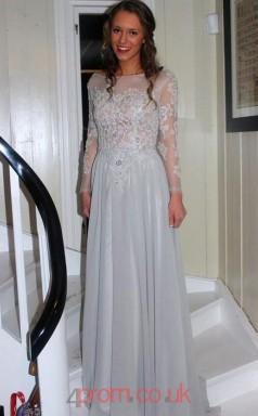Gray Chiffon A-line Bateau Long Sleeve Floor-length Evening Dresses(JT3959)