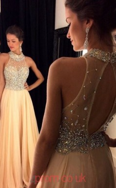 Champange 30D Chiffon A-line Halter Floor-length Prom Dresses(JT3964)