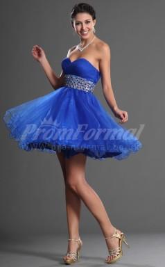 Ocean Blue Organza Princess Sweetheart Short/Mini Cocktail Dresses(PRJT04-0398)