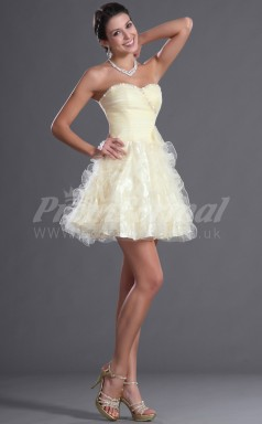 Champagne Organza Princess Sweetheart Short/Mini Cocktail Dresses(PRJT04-0399)