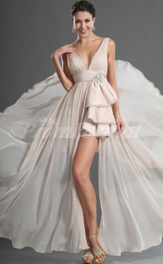 Nude Chiffon A-line V-neck Hi-Lo Cocktail Dresses(PRJT04-0400)