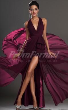 Grape Chiffon A-line V-neck,Halter Hi-Lo Cocktail Dresses(PRJT04-0401)