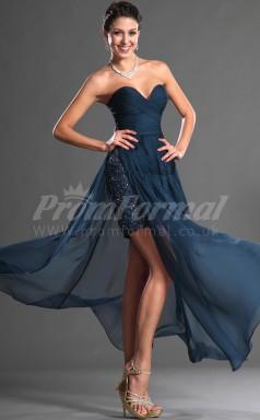 Ink Blue Lace,Chiffon Sheath Sweetheart Hi-Lo Cocktail Dresses(PRJT04-0402)