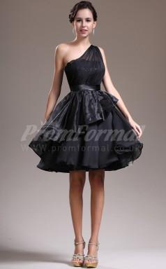 Black Chiffon,Taffeta Princess One Shoulder Short/Mini Cocktail Dresses(PRJT04-0456)