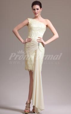 Champagne Lace,Chiffon Sheath One Shoulder Short/Mini Cocktail Dresses(PRJT04-0458)