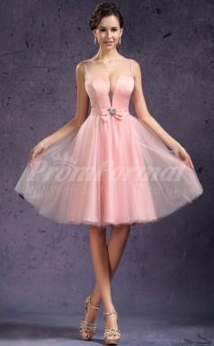 Pearl Pink Charmeuse,Tulle Princess Straps,V-neck Knee-length Cocktail Dresses(PRJT04-0460)