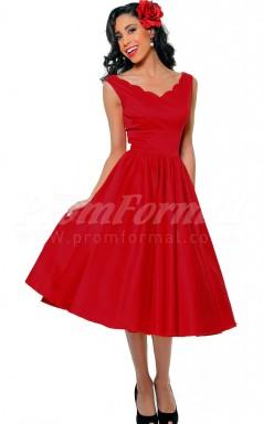 Red Satin Princess V-neck Tea-length Cocktail Dresses(PRJT04-0466)