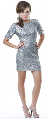 silver Sequined Sheath Jewel Short/Mini With Sleeves Cocktail Dresses(PRJT04-0476)