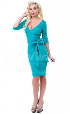 Turquoise Knitwear Sheath V-neck Knee-length Half Sleeve Cocktail Dresses(PRJT04-0488)