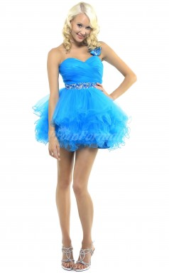 Pool Organza Princess One Shoulder,Sweetheart Short/Mini Cocktail Dresses(PRJT04-0489)