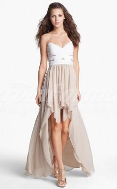 Nude Chiffon A-line Straps Hi-Lo Cocktail Dresses(PRJT04-0493)