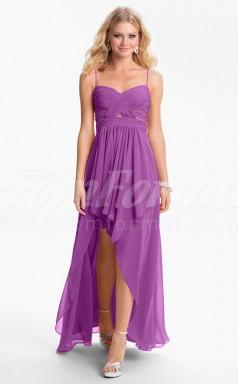 Dark Lilac Chiffon A-line Straps Hi-Lo Cocktail Dresses(PRJT04-0494)