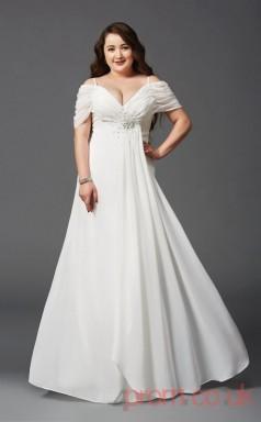 A-line Ivory Lace Off The Shoulder Short Sleeve Floor-length Plus Size Dress(PLJT8009)