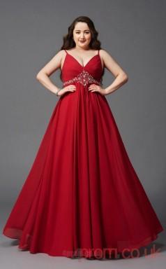 A-line Red Satin Chiffon V-neck Sleeveless Floor-length Plus Size Dress(PLJT8011)