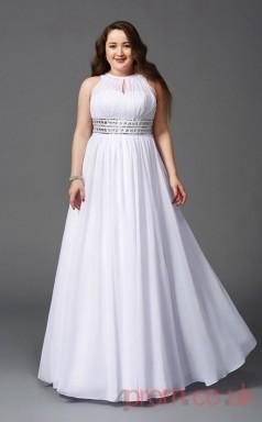 A-line White Chiffon Halter Sleeveless Floor-length Plus Size Dress(PLJT8012)
