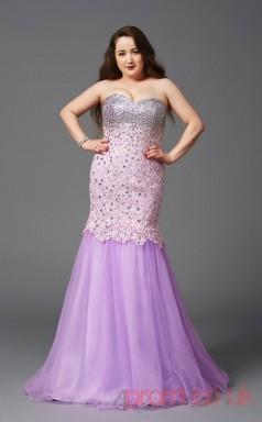 Trumpet/Mermaid Lilac Lace Sweetheart Sleeveless Floor-length Plus Size Dress(PLJT8027)