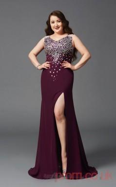 Trumpet/Mermaid Dark Burgundy Sequined V-neck Sleeveless Floor-length Plus Size Dress(PLJT8029)