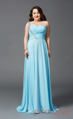 A-line Deep Sky Blue Satin Chiffon One Shoulder Sleeveless Floor-length Plus Size Dress(PLJT8035)