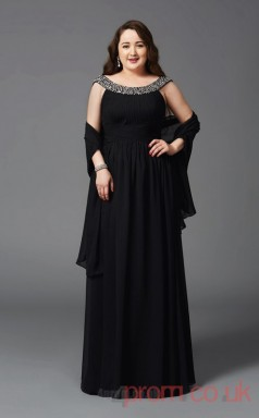 A-line Black Chiffon Scoop Sleeveless Floor-length Plus Size Dress(PLJT8038)