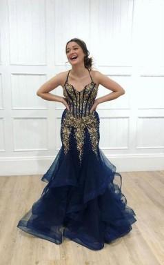 Navy Tulle Gold Beaded Spaghetti Straps Mermaid Prom Dress  JTA0231