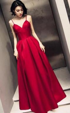 Dark Red Straps Beautiful Satin Simple Prom Formal Dress JTA0281