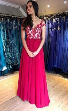 Cap Sleeve Lace Appliques A Line Floor Length Chiffon Prom Evening Dress  JTA0331