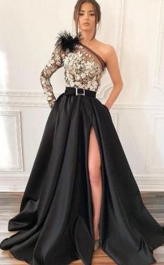 One-Shoulder Black Long Appliqued Split Prom Dress with Pockets Feathers  JTA0391