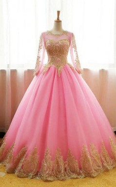 Ball Gowns Scoop Pink Tulle Applique Modest Long Prom Formal Dress  JTA0611