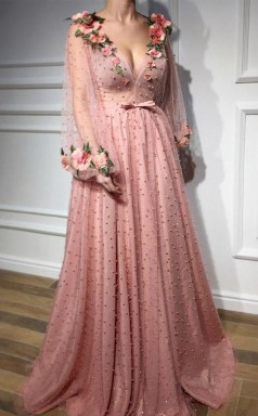 Long Sleeves V Neck 3D Flowers Pink Prom Dress Formal Dress JTA0631