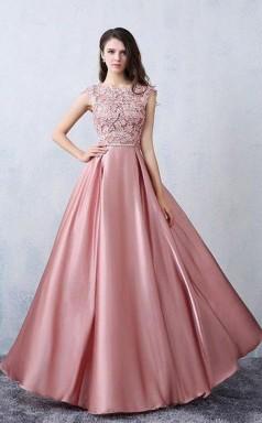 A Line Scoop Pink Satin Applique Modest Prom Formal Dress JTA0651