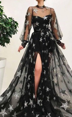 Black High Neck Split Long Prom Dress With Star Sparkly Long Sleeves JTA0671