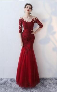 Mermaid Scoop Half Sleeve Lace Long Prom Dress Evening Gowns JTA0681
