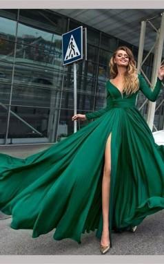 A Line V Neck Long Sleeves Dark Green Prom Formal Dress With Split JTA0821